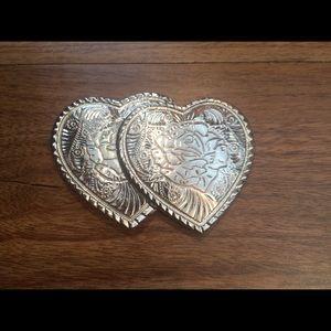 Vintage Silver Hearts Belt Buckle Rose Detail